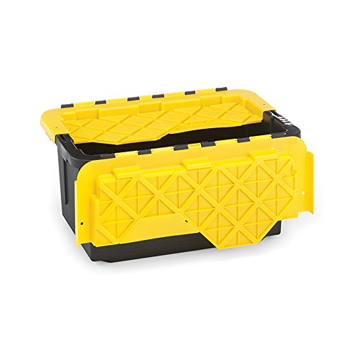HOMZ 15 Gallon Tough Flip Lid Plastic Storage Container, Set of 6, Black and Yellow, 6 Set