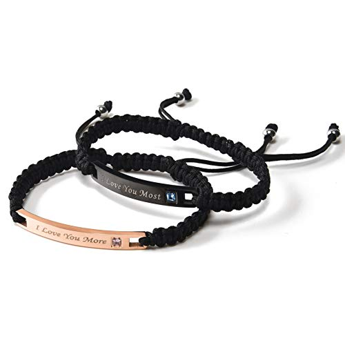 Couples Bracelets Personalized Matching Bracelets for Couples Rope Braided Custom Bracelets Nameplate ID His and Her Bracelets Valentines Day Gifts for Him (I Love You More/I Love You Most(1 Pai
