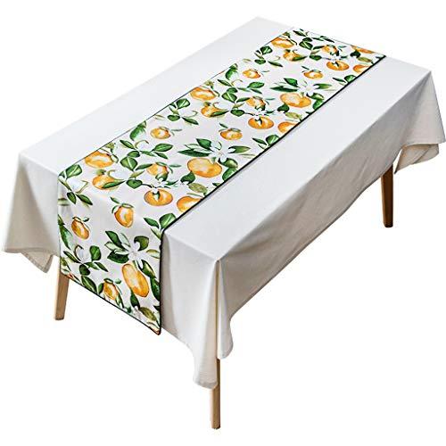 Chemin de Table Orange, Chemin de Table Arbre Orange et Vert, Nappe résistante à la Chaleur pour Banquet de fête de Salle à Manger 40X180cm / 40X220cm