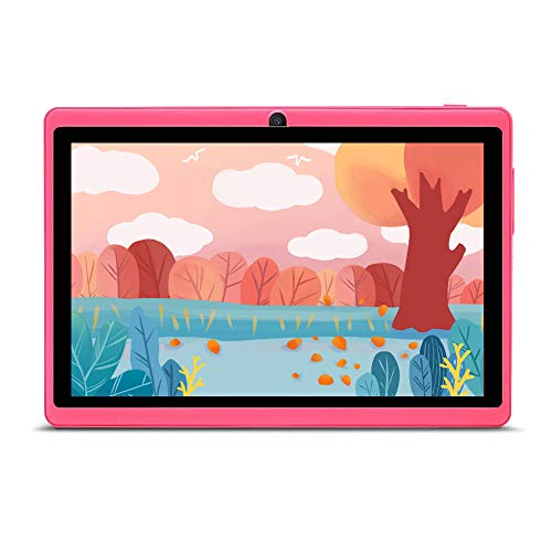 Haehne 7' Tablet PC, Google Android 9.0 GMS HD Tablet, 1GB RAM 16GB ROM Quad Core, Cámaras Duales, WiFi, Bluetooth, Rosado