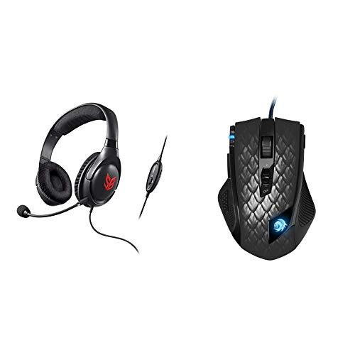 Creative HS-810 SB Blaze Gaming Headset, schwarz & Sharkoon Drakonia Black Gaming Laser Maus 8200 DPI (11 Tasten) schwarz