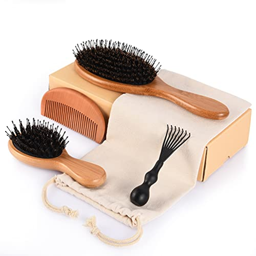 Hair Brush Kid Men Women: Wooden Soft Natural Boar Bristle Hairbrush - Bamboo Hair Brushes & Comb Set for Long Short Thick Thin Wavy Curly Hair - Adds Shine and Improves Hair Texture