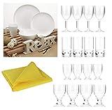 Moritz Vajilla de melamina para 4 personas, 33 piezas con diferentes vasos + paño de microfibra amarillo, vajilla de picnic Outdoot ocio viajes excursiones