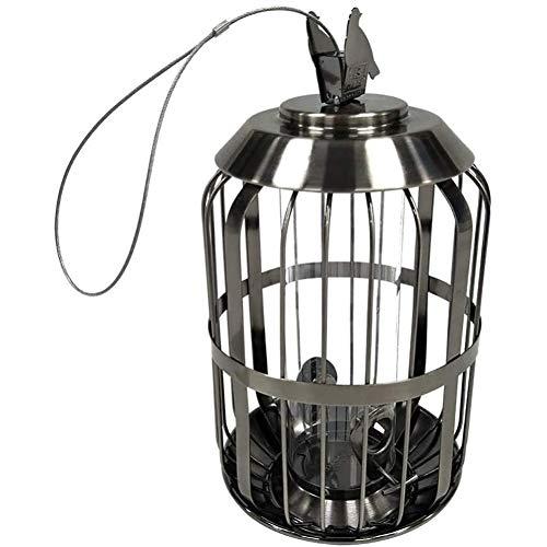 Layla Beauty Store Bird Cage Bird Feeder Hanging Hook Feeder Wrought Iron Anti-Squirrel Bird Feeder Wild Bird Feeder,Silver