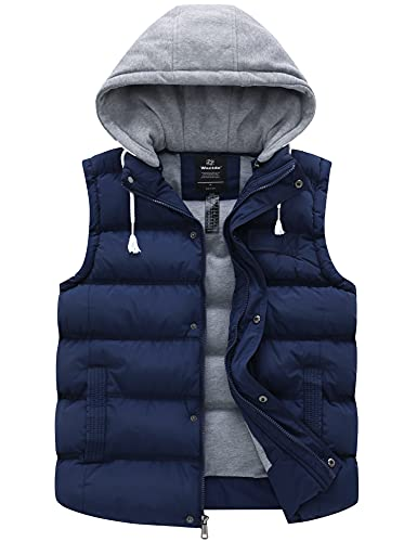 Wantdo Men's Thick Puffer Vest Water Repellent Hooded Winter Coat Blue Medium