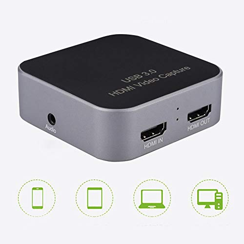 Video Game Capture Card 1080P, USB C & USB 3.0 USB 2.0 en HDMI Passthrough voor monitor Compatibel Windows/Linux/Mac OS X besturingssysteem, PnP Capture Card Conveter