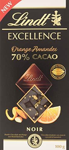 Lindt Excellence – Tableta de chocolate negro 70% cacao con naranja y almendras, 100 g