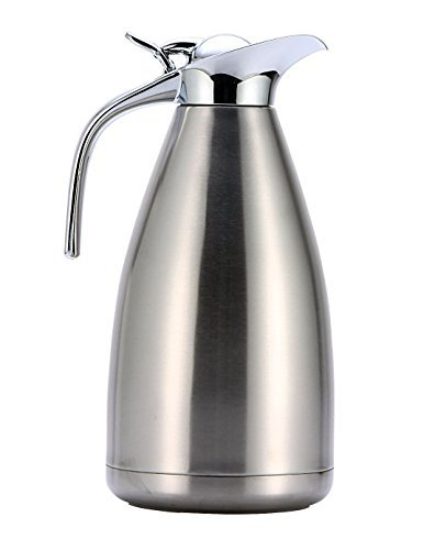 HUSKEY Stainless Steel Thermal Coffee Carafe - Double Walled Vacuum Insulated Carafe with Press Button Top - Quality Thermal Beverage Dispenser