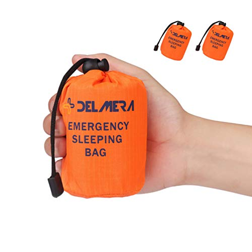 Delmera Emergency Survival Sleeping Bag, Lightweight Waterproof Thermal Emergency Blanket, Bivy Sack with Portable Drawstring Bag for Outdoor Adventure, Camping, Hiking, Orange (Orange-2 Packs)