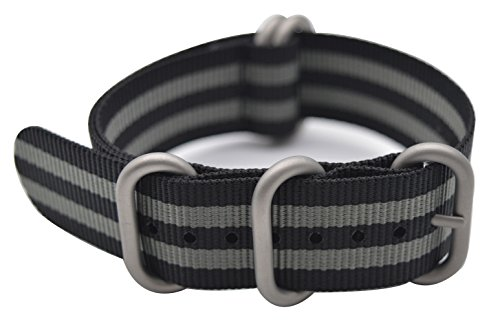 ArtStyle Watch Band with Colorful Nylon Material Strap and Heavy Duty Brushed Buckle (Black Grey, 22mm)