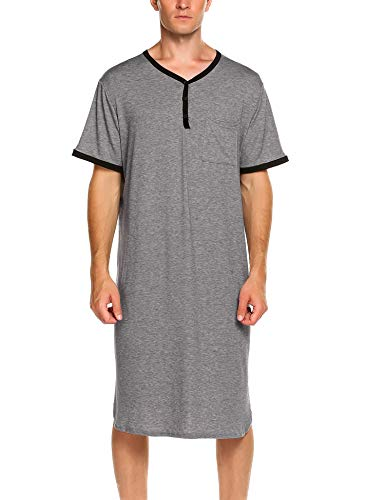 Ekouaer Men's Kaftan Sleepwear Cotton Nightshirt Soft Sleepshirt,A-grey,X-Large