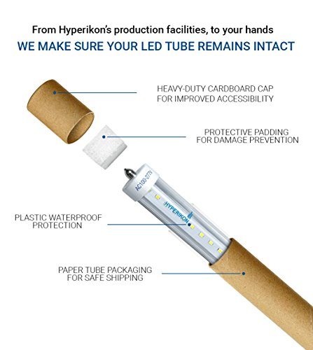 Hyperikon T8 T10 T12 8 Foot, 75 Watt (36W) Clear, LED Light Tube, 5000K, Ballast Compatible and Bypass, UL, 4 Pack