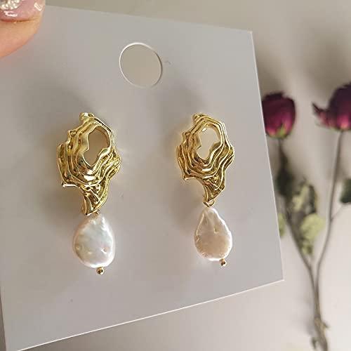 SALAN Orecchini Pendenti con Perle d'Acqua Dolce con Conchiglia d'oro Orecchini Pendenti con Perle Bianche Barocche A Forma di Onda Orecchini Irregolari da Donna