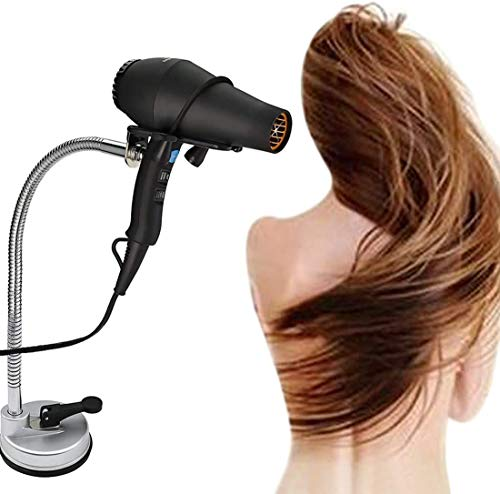 SKEMIX Hair Dryer Holder Stand, Stainless Steel 360 Degree Rotating Lazy Hair Dryer Stand with Suction Cup, Hands Free Blow Dryer Holder Countertop