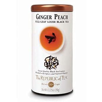 The Republic of Tea Ginger Peach Black Full-Leaf Loose Tea 3.5 oz Tin Steeps 50 Cups   Caffeinated
