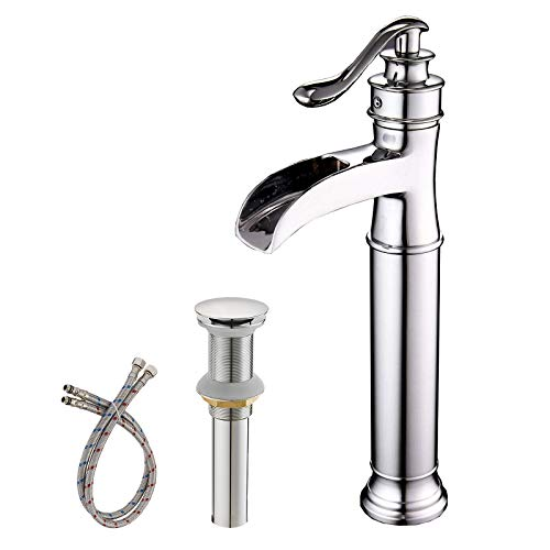 BWE Vessel Sink Faucet Chrome Polished Waterfall Spout Tall Body Single Hole with Brass Pop Up Drain Assembly Without Overflow Bathroom Lavatory Vanity Faucets Commercial