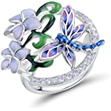 Santuzza 925 Sterling Silver Ring Delicate Dragonfly Flower Handmade Enamel Cubic Zirconia Fashion Jewelry for Women (7)