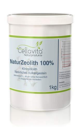 CELLAVITA Natur-Zeolith (100%) - Klinoptilolith | reine Naturmineralie bester Qualität | natürliches Vulkangestein Zeolith Pulver 1kg (1000g)