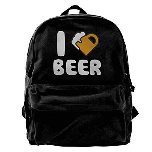 Yuanmeiju School Travel Backpack, Classic Canvas Backpack I Heart Beer Unique Print Style,Fits 14 Inch Laptop,Durable,Black