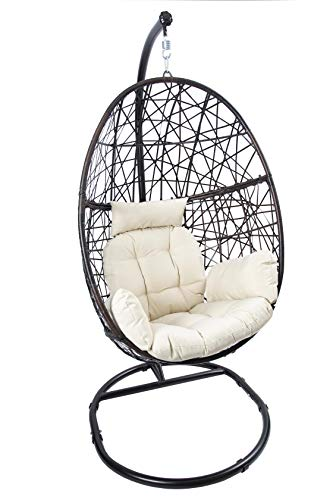 Luckyberry Egg Chair Outdoor Indoor Wicker Tear Drop Hanging Chair with Stand