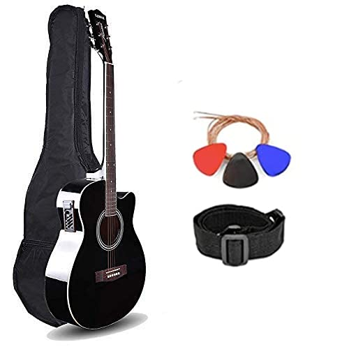 Kadence Frontier Series, Acoustic Guitar With/Wihtout EQ Die Cast Keys Combo (Bag,strap,strings and 3 picks) (Black, Semi/Electro Acoustic)