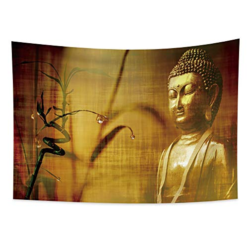 Yongto 70.9x62.3 inches Buddha Tapestry Wall Hanging for Living Room Retro Golden Tathagata Statue Godliness Tapestry Yoga Room Meditation Wall Tapestry for Bedroom Peaceful Mood