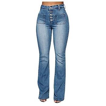 WUAI-Women Juniors Bell Bottom High Waist Stretch Fitted Wide Leg Bootcut Denim Flare Jeans Plus Size Blue,4X-Large