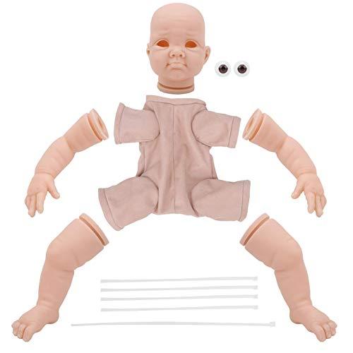 Kits muñecas Reborn 22 pulgadas, simulación bricolaje sin pintar, juegos moldes para muñecas Reborn incluyen cabeza, extremidades, tela, ojos para el cuerpo, para juegos Reborn, actividad preescolar