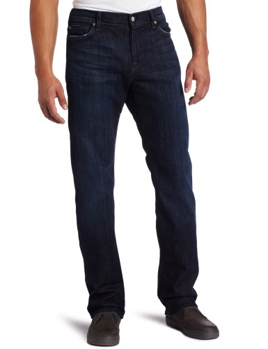 7 For All Mankind Men's Standard Straight Leg Jean in Los Angeles Dark, Los Angeles Dark,...