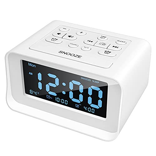 Acsonwin Digital Alarm Clock Radio, Small Clock for Bedroom/Kids/Teens, Dual Alarms, 0-100% Dimmer, Adjustable Alarm Volume, with Dual USB Charging Ports, Snooze, Temperature, Battery Backup (White)