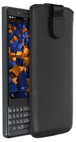 mumbi Echt Ledertasche kompatibel mit BlackBerry KEY2 LE Hülle Leder Tasche Hülle Wallet, schwarz