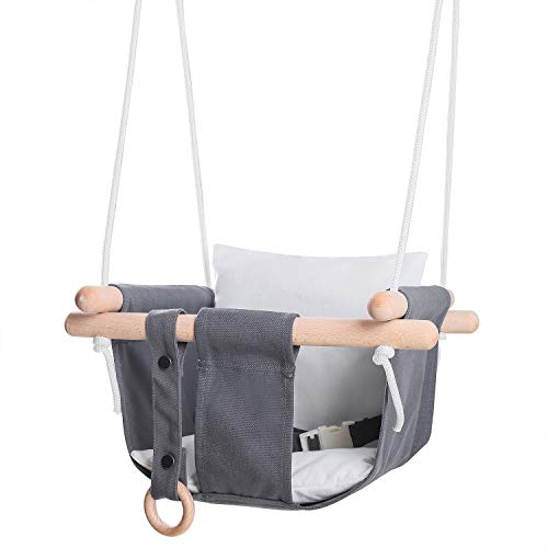 MIMIEYES Wooden Baby Swing Canvas Seat Set with Cushions, Handmade Kids Indoor Outdoor Hanging Chair Hammock, Comfortable Toddler Seat Nursery Decor (gray/white)