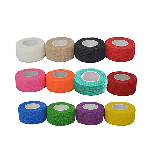 24 Pieces self Adhesive Elastic Bandage wrap Stretch self-Adherent Tape for Sports, Wrist, Ankle 5 Yards Each (1 Inch, 12 Colors)