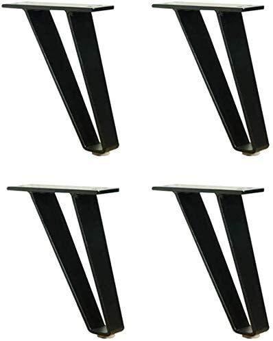 Yubingqin Patas de metal para muebles, patas de acero, altura de 15 cm, con tornillos de montaje, para mesa de comedor, patas de mesa de café de metal (color negro mate, tamaño: 15 cm)