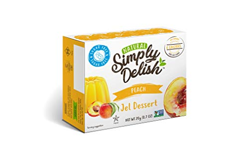 Simply Delish, Sugar-Free Natural Jelly Dessert - Vegan, Gluten and Fat-Free, Peach Flavour - Pack of 6, 20g Keto Friendly Sweets
