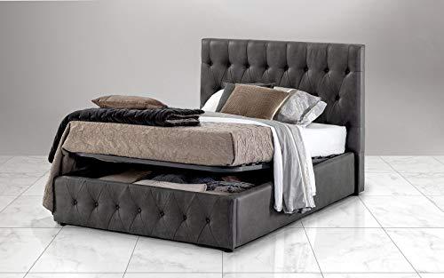 Dafne Italian Design Cama de una plaza y media con contenedor, color gris oscuro (140 x 212 x 116)