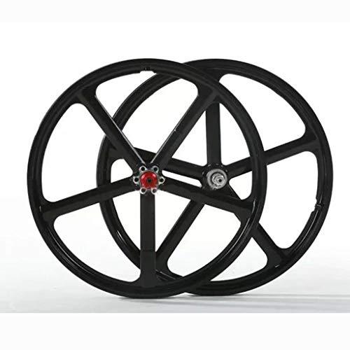 Llanta de aleación de magnesio titanio Establece 20' freno de disco 5-Blade Montaña plegable integrado for Rueda de bicicleta Modificación del lanzamiento rápido del volante de casete Spinning NEGRO (