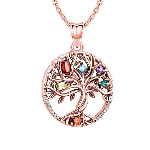 Collana albero della vita, ciondolo in argento sterling S925 placcato oro rosa/oro, gioielli da donna in zirconio 5A (oro rosa)