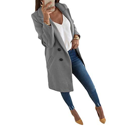 Azastar winterjas voor dames, wollen jas, warme winterjas, dames, lang, met waterval-snit