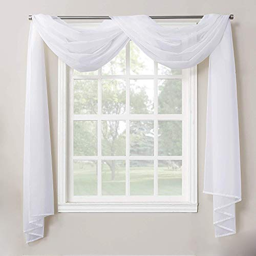 """Decotex 1 Piece Sheer Voile Home Decor Fully Hemmed Scarf Valance Swag Topper (37"""" X 216"""", White)"""