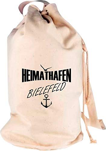 Shirtstown Rucksack Seesack, Heimathafen Bielefeld, Motiv Logo Sack Beutel Tasche Reise Urlaub See Campen, Farbe Natur