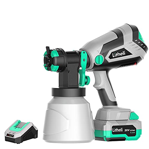 Litheli HVLP Paint Sprayer, 20V Paint Sprayers for Home Interior and Exterior, Cordless Paint Gun with 3 Patterns & 3 Nozzles for Car, Deck, Fence, Furniture, with 4.0 Ah Battery & 2.4 A Fast Charger