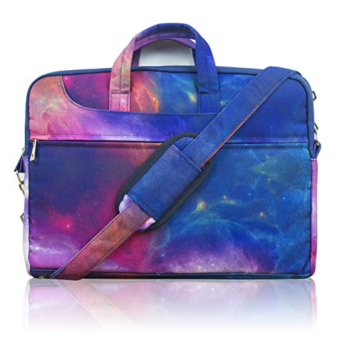 TaylorHe 15.6 inch 15 inch 16 inch Poly Canvas Laptop Shoulder Bag with Patterns, Side Pockets Handles and Detachable Strap Colourful Cosmos