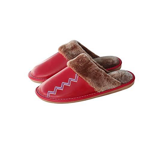 XVXFZEG Forro de algodón rojo zapatillas de felpa de las mujeres, antideslizante impermeable suela de goma sólida de algodón zapatillas de piel de oveja interior y exterior, gruesos zapatos caliente e