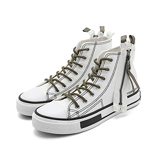 Shotirr Women's Canvas Sneakers High Top Lace Up Zipper Decoration Shoes, White 7 M US