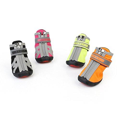 YANGFH Pet Schuhe Hund Schuhe Amazon Grenzüberschreitenden Neuen Wasserdichten Verschleißfesten Leuchtenden Welpen Schuhe Hundekleidung (Color : Pink [4 Packs], Size : No. 2)