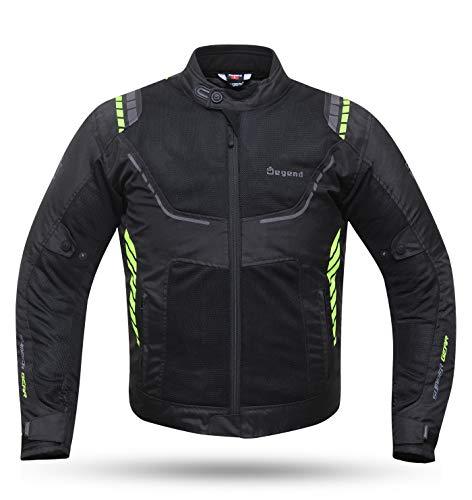 Degend Breeze Man - Ropa de Moto | Chaqueta Moto Hombre Impermeable y Transpirable - Talla L - Color Negro/Flúor