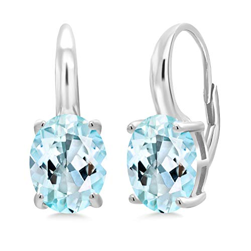 6.00 Ct Oval Sky Blue Topaz 925 Sterling Silver Earrings