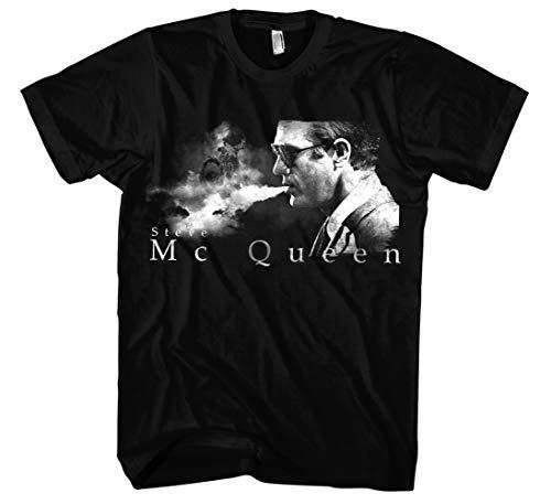 Steve McQueen Männer und Herren T-Shirt | Bullitt Motorsport ||| (L, Schwarz)