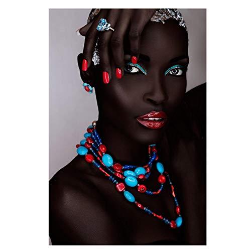 Imprimir en Lienzo Labios de Mujer Sexy Africana Negra Carteles e Impresiones Pintura en casa Sala de Estar Dormitorio Lienzo Pintura 70x100cm / 27.6'x39.4 sin Marco